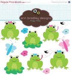 50% OFF SALE Frog Clipart Clip Art Personal por ErinBradleyDesigns