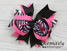 Hot Pink and Black Zebra Hairbow From Kemaily by Kemaily on Etsy, $7.00