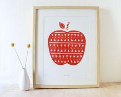 Apple Print, Red, Screenprint, Geometric, Scandinavian. $30.00, via Etsy.