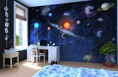 Solar system wall mural for kids' room, featured on NONAGON.style
