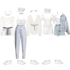Fashion set 'deep blue eyes' - girls next door created via Kpop Fashion Outfits, Ulzzang Fashion, Stage Outfits, Edgy Outfits, Dance Outfits, Classy Outfits, Pretty Outfits, Girl Outfits, Cute Outfits