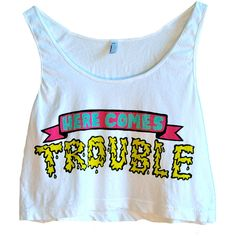 Here Comes TROUBLE Crop Tank ($45) ❤ liked on Polyvore featuring tops, shirts, crop tops, tank tops, crop tank, crop shirt, shirt crop top, blue tank and shirt tops