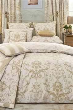 Damask cream and gold bedding set, Next
