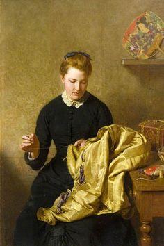 The Little Seamstress ~ John Faed ~ (Scottish: 1819-1902)