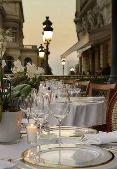 La Salle Empire and terrace restaurant in the Hôtel de Paris Monte-Carlo, Monaco ✯ ωнιмѕу ѕαη∂у Restaurant Hotel, Terrace Restaurant, San Pedro, Belle Villa, Before Sunset, Monte Carlo, Resorts, Life Is Good, Places To Go