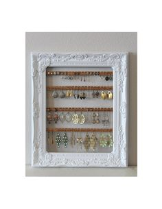 Wall hanging earring holder jewelry organizer httpswwwetsycom
