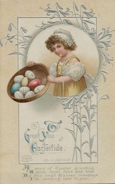 Vintage Easter Clapsaddle 1910 Greetings Postcard Card Victorian Embossed #Easter
