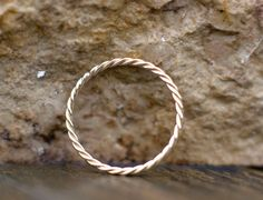 1.2mm gold band unique wedding ring for her  solid 14k by ARPELC
