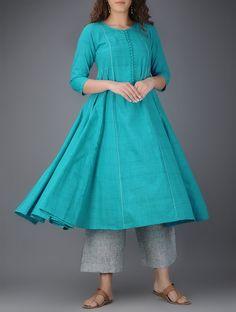 Buy Blue Kalidar Cotton Kurta with Tanka Work Women Kurtas Online at Jaypore.com