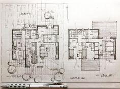 いいね!866件、コメント7件 ― 石川 元洋/一級建築士さん(@motohiro_ishikawa)のInstagramアカウント: 「・ 40坪4人家族の住まい ・ 北入りの敷地特性を活かし居住空間プラスサニタリースペースにも陽当たりを確保。 ・…」 Architecture Drawing Plan, Japan Architecture, Architecture Design, Home Design Plans, Plan Design, Plan Sketch, House Blueprints, Small House Plans, Design Trends