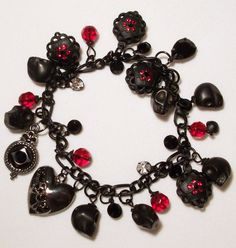 Black and Red Gothic Bracelet by TheSterlingCat on Etsy