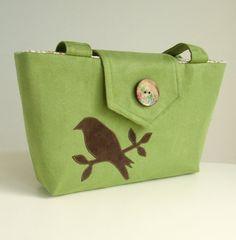 Wayfarer Purse  Bird Bag  Handmade Applique  by peskycatdesigns