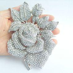 Wedding Accessories, Wedding Brooch, Bridesmaid Jewelry, Bouquet Brooch, Wedding Bridal Crystal Rhinestone Rose Flower Brooch Pin BP02994C3