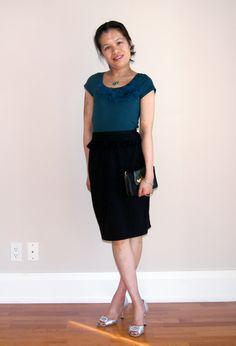 From Petite Fashion Challenge #14: Holiday Emergency!  Skirt: AIME; T-Shirt: @LOFT (back when they were still Ann Taylor LOFT); Shoes: Manolo Blahnik; Bag: 442 McAdam