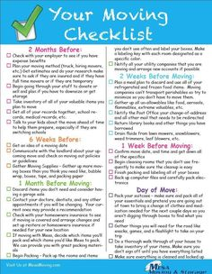 The Best Moving Checklist - Print out and enjoy or take a screenshot to have on your phone Moving House Tips, Moving Home, Moving Day, Moving Tips, Moving Hacks, New Home Checklist, Apartment Checklist, Moving Checklist Printable, Household Checklist