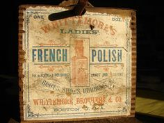 Antique Primitive / Mercantile String Winder / French Polish WHITTEMORE Box / Paper Label Advertising