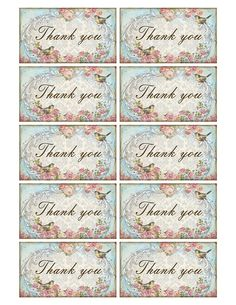 Thank you card Shabby chic rose Vintage