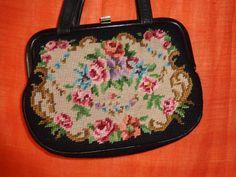 Vintage Handtaschen - tasche*Vintage*Gobelin*schwarz*petit point* - ein…