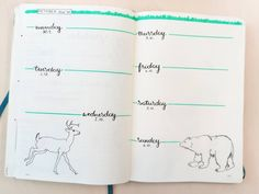 First Weekly Spread of October 2019 Tombow Fudenosuke, Bujo Weekly Spread, Animal Drawings, Stationary, October, Doodles, Bullet Journal, Tutorials, Learning