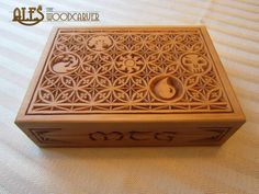 Gothic style card box with MTG mana symbols incorporated into the design.