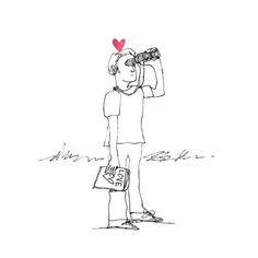 The Secret Life of Love. Day #313. #close #binoculars #sketch #illustration