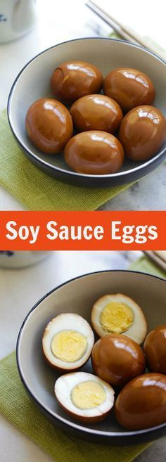 Easy Delicious Recipes Soy Sauce Eggs (Shoyu Tamago) - Rasa Malaysia - Soy Sauce Eggs - easy and healthy hard-boiled eggs steeped in a soy sauce mixture. This soy sauce eggs recipe yields delicious results Soy Sauce Eggs, Soy Eggs, Asian Recipes, Healthy Recipes, Delicious Recipes, Great Recipes, Favorite Recipes, Pickled Eggs, Good Food