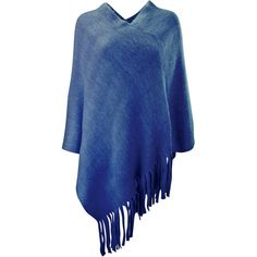 Navy Blue V-Neck Knit Poncho With Long Fringe ($20) ❤ liked on Polyvore featuring outerwear, navy blue, poncho shawls, blue shawl, shawl poncho, oversized shawl, navy shawl and knit shawl