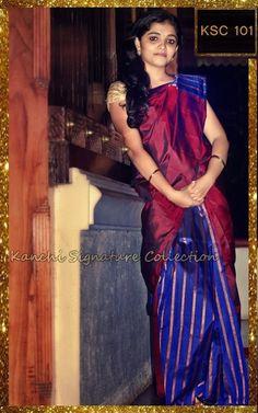 Red and blue kanchipuram saree. https://www.facebook.com/Kanchi-Signature-Collection-353807514697160/timeline/