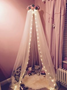 Handmade bed canopy nursery cot canopy girls princess bedroom reading nook Pink and Grey & Our Avery canopies came to life after I handmade one for Averyu0027s ...