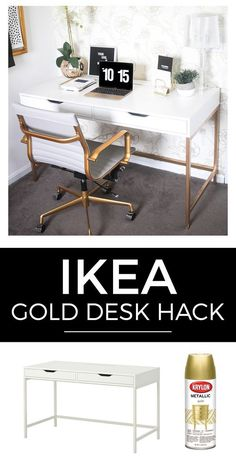 Ikea DIY Hacks That'll Save You so Much Money! Cheap & Gorgeous DIY Ikea Desk Hacks for all areas of your home. From Office spaces, small areas of the home, the bedroom, home office and more. Also includes desk organization ideas - True & Pretty Decor Room, Room Decorations, Bedroom Decor, White Desk Bedroom, White Vanity Desk Ikea, White Desk Makeup, Desk To Vanity, Ikea Hacks Makeup Vanity, Makeup Table Ikea