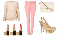 Cute spring outfit: easy day laid back paired with a messy bun =perfect Laid Back Outfits, Cute Spring Outfits, Easy Day, Pink Jeans, Colored Jeans, Color Trends, Pink And Gold, What To Wear, Pretty