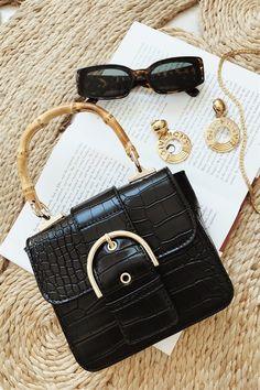 Bamboo Handle Bag - Bags by Sabo Skirt - Bamboo Handle Bag - Photography Bags, Flat Lay Photography, Prada, Gucci, Bling Bling, Side Bags, Little Bag, Black Handbags, Sabo Skirt