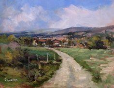 """Pascal GIROUD """" Route vers St Auban"""" Huile sur Panneau - 20 x 25 cm"""