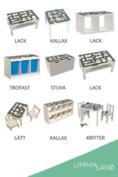 Limmaland I design foils & accessories for IKEA furniture – Kids Room 2020 Ikea Kids, Room Ideias, Ikea Table, Kids Storage, Toy Storage Cubes, Toy Car Storage, Toy Rooms, Kallax, Kids Room Design