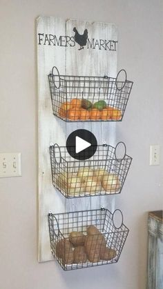 Farmers Market 3 basket wall decor, Farmers Market produce storage, Rustic produce rack, Farmhouse style produce rack, Rustic kitchen decor Farmers Market Basket Produce Storage This quaint farmers market basket storage would be a wonderfu Farmhouse Style Kitchen, Farmhouse Kitchen Decor, Farmhouse Baskets, Farmhouse Design, Kitchen Wall Decor Rustic, Farm House Kitchen Ideas, Modern Farmhouse, Rustic Design, Rustic Style