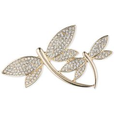 Anne Klein Gold-Tone Double Dragonfly Pave Pin ($28) ❤ liked on Polyvore featuring jewelry, brooches, gold, anne klein, dragonfly jewelry, gold tone jewelry, dragonfly brooch and pin jewelry