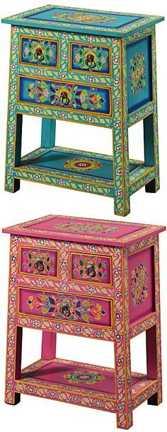 Handpainted indian cabinet, 3 drawers