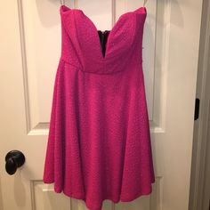 Strapless pink party dress Hot pink strapless dress with sparkle detail. Worn once! Dresses Strapless