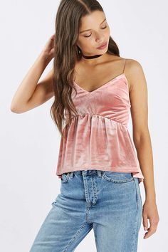 **Peplum Velvet Camisole by Nobody's Child - Tops - Clothing - Topshop