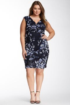 London Times | Ruched Side Dress (Plus Size) | Nordstrom Rack