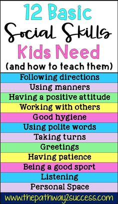 Basic social skills kids and teens need along with several activities for how to teach them Use these free ideas to help students improve skills for listening taking turn. Social Skills Lessons, Social Skills For Kids, Social Skills Activities, Teaching Social Skills, Social Emotional Learning, Life Skills Kids, Character Education Lessons, Childcare Activities, Preschool Classroom Management