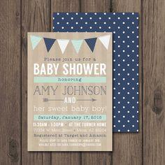Invitation SHOWER de bébé garçon, rustique Baby Shower Invitations, Invitation imprimable 5 x 7, menthe & Marine