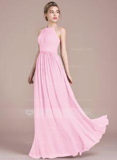 921090a5d5c0e A-Line Princess Scoop Neck Floor-Length Chiffon Bridesmaid Dress With Ruffle