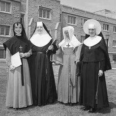 Catholic Nuns of different Orders before the late 1960's       Grey Nun, Ursuline Nun, Daughter of Wisdom and Sister of the Congregation of the Holy Cross.