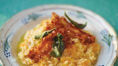 Risotto à la courge butternut, sauge et pancetta croustillantes