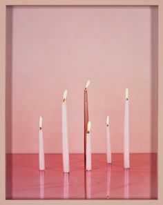 Elad Lassry Candles, c-print, painted frame, x x inches x x cm) Pink Love, Pretty In Pink, Pink Candles, Color Of The Year, Pantone Color, Pastel Pink, Pink Art, Painting Frames, Art