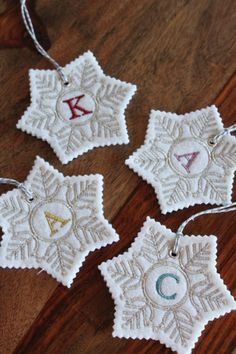 This stocking tag is handmade from an ivory, wool-blend felt and embroidered in the metallic thread color(s) of your choice. Monogram