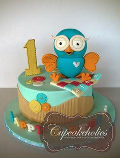 Giggle and Hoot Cake Owl Cake Birthday, Baby Boy 1st Birthday, Birthday Ideas, Owl Cakes, Novelty Cakes, Cakes For Boys, 1st Birthdays, Themed Cakes, How To Make Cake