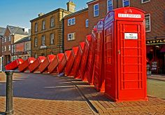 """David Mach's """"Out of Order"""" sculpture - London Red Telephone boxes (Kingston Upon Thames). I used to walk past this almost everyday for about 3 months and have not taken a picture with it. Kingston London, Kingston Upon Thames, Telephone Booth, Quirky Art, England, London Calling, British Isles, Study Abroad, Public Art"""