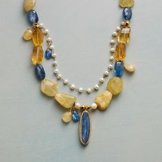 "VIVECA NECKLACE -- Pops of blue and sun-sparked shades make our necklace of citrine, kyanite (one framed in 24kt gold), pearl and heliodor a distinctively lovely, lively addition to looks year-round. By Nava Zahavi. Necklace with 18kt gold vermeil accents and 24kt gold-plate hook. Exclusive. 18""L."